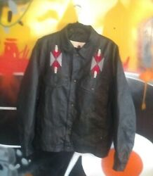 90s Vintage High Noon Leather Jacket Western Style Size Large RARE FIND