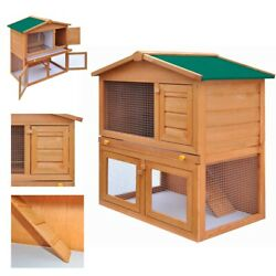 A-Frame Wood Rabbit Hutch Small Animal House Pet Cage Chicken Coop with Run 36''