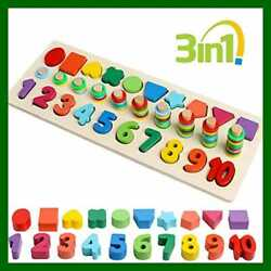 Wooden Number Puzzle Sorting Montessori Toys For Toddlers Math Color Shape Sorte