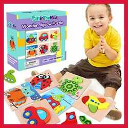 6 Pack Wooden Jigsaw Puzzles Color Shapes For Toddlers 1 2 3 Years Ol Multicolor