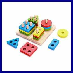 Wooden Geometric Toys For Kids Educational Stacking Blocks Shape Color Recogniti