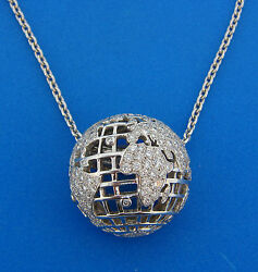 CHANEL Diamond White Gold Globe PENDANT Necklace Signed Chic Wearable