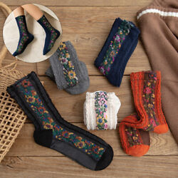 Winter Women Socks Cotton Flowers Mid Stockings National Wind Breathable Casual C $3.79