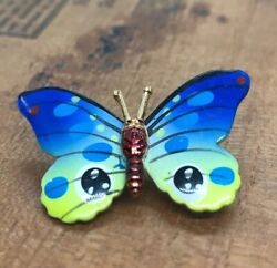 Vintage Fashion Costume Brooch Pin Butterfly Animal Colorful Signed Korea Enamel