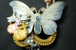 Vintage Gold Tone Butterfly PIN BROOCH Multi-Colored w Charms