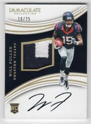 Will Fuller 2016 Panini Immaculate Collection 2-Color Patch Auto 25 Autogra