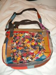 Wilson Genuine Leather Hobo style Large Purse patchwork leather flowers