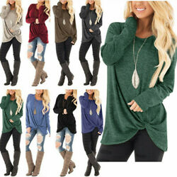 Women Solid Tunic Tops Long Sleeve Casual Loose Blouse Shirt Pullover Clothes