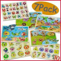 7 Pack Wooden Puzzles For Toddlers 1 2 3 4 Years Old Colorful Peg Set Kids Alpha