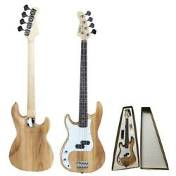 New Glarry School Band Left Handed 4 Strings Electric Bass Guitar Natural Color