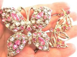 Vtg Pink & Aurora Pink Rhinestone Butterfly Brooch Pin & Pink Rs Clip Earrings