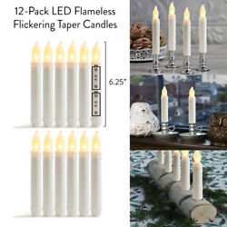 12 Pack LED Flameless Flickering Taper Candles 6.25quot; Warm White Battery Operated $15.95