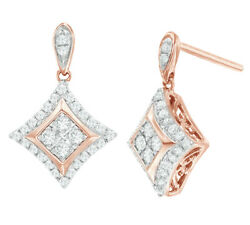 Cyber Monday .33Ct White Diamond Concave Square Drop Earrings 10K Rose Gold