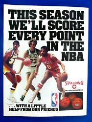 Larry Bird Magic Johnson Dr.J Erving 1985 Spalding Original Print Ad 8.5 x 11quot; $5.56