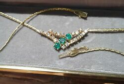 VINTAGE 14 Kt Gold Necklace Emerald DIAMOND New In Box Engagement Anniversary