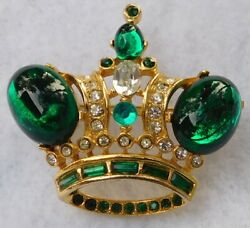 B&W Signed Butler Wilson Signed Brooch Pin Green Clear Stones Gold Tn Numbered