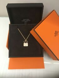 Authentic Hermes Constance Amulette Pendant rose gold small model new