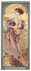 TAPESTRY MUCHA SUMMER WOMAN LADY NEW ART FRANCE WALL HANGING ANTIQUE VINTAGE $99.00