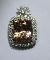 Morganite 13.30ct Natural Diamonds 1.60ct Solid 18K White Gold PendantNew