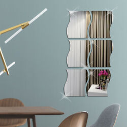 6pcs Waves Shape 3D Mirror Wall Stickers Decal Bedroom Home Decor Self adhesive $8.98
