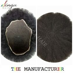 Black Afro Curl Mens Toupee Hairpiece Full Lace 6mm Africa Waves Hair System 1B#