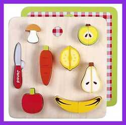 Chunky Puzzle Play Foods 14 PC Colorful Wooden Fruits & Vegetables One Color