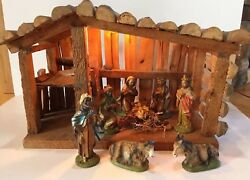Vintage Nativity Set Manger Stable 9 Pc Italy Wood Creche Manger Wooden