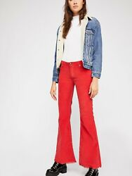 Free People Women#x27;s Red Vintage Cord Flare Pants Size 28 Corduroy $41.99