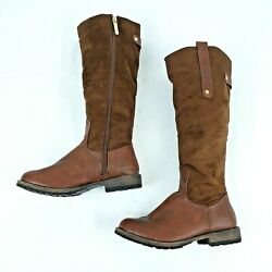 Nature Breeze Womens Boots Size 9 Brown Below Knee Full Side Zip Round Toe $13.99