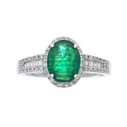 Emerald and Diamond Ring May Birthstone in 14K White Gold $2362.04