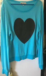 WILDFOX Sparkle Heart Baggy Beach Jumper Pullover Sweatshirt- L