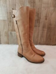 Lucky Brand Boots Womens 10M40 Hillow Tall Riding Brown Leather Zip Buckle