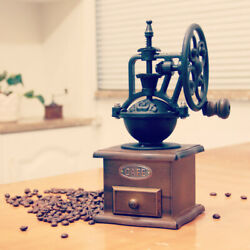 Manual Coffee Grinder Antique Cast Iron Hand Crank Coffee Mill with Wood Drawer $32.99