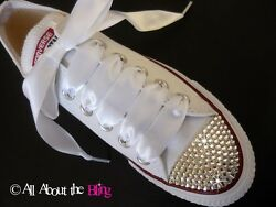 CONVERSE ALL STAR WHITE with SWAROVSKI CRYSTALS and Satin laces Wedding Shoe $124.99