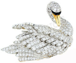 4.76CT NATURAL ROUND DIAMOND 14K SOLID WHITE GOLD ENAMEL WEDDING DUCK PENDANT