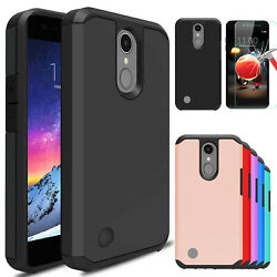 For LG K8 2018 Shockproof Armor Case Cover With Tempered Glass Screen Protector