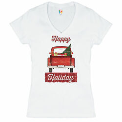 Happy Holiday Women#x27;s V Neck T shirt Merry Christmas Truck Santa Claus Tee $15.95