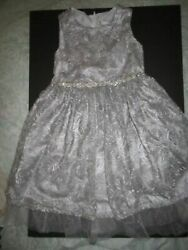 Holiday Party Girls quot;Rare Editionsquot; Grey Bedazzled Brocade Dress 6X $20.99