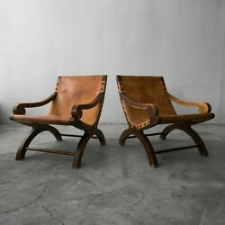 Pair of Vintage Butaque Leather Sling Lounge Chairs Clara Porset Style