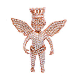 6.86CT NATURAL ROUND DIAMOND 14K SOLID ROSE GOLD ANGEL PENDANT AND BROOCH