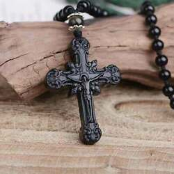 Natural Obsidian Cross Pendant Jesus Cross Necklace $16.99