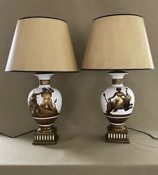 MID CENTURY PAIR MODERN Milk glass gold details LAMPS Possibly Tommi Parzinger $2450.00