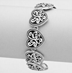 Brighton Beach Filigree Metal Heart Link Magnetic Bracelet #2