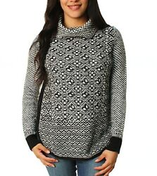 NWT $99 Lucky Brand Side Zip Black White Cowl Neck Sweater 1X