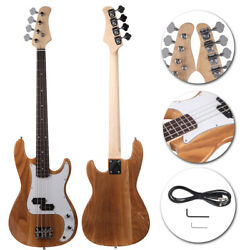 New Exquisite Burlywood 4-String Electric Bass Guitar Burning Fire Style