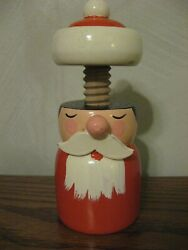 Vintage Sevi Italy Screw Style Wooden Nutcracker Folk Art Santa Claus