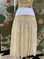 Soft Surroundings White Skirt With Cream Lace And Sequin Overlay Large $29.99