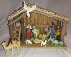 Vintage Wooden Christmas Nativity Set With 12 Characters & Manger Made In Italy