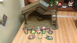 Nativity SceneWooden Houseplastic figuresitalyraregd!