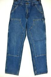 Carhartt B37 Size 32X34 Mens Double Knee Dungaree Fit Blue Denim Work Pants Jean